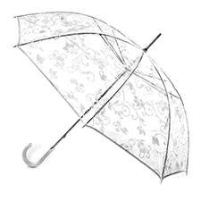 totes PVC with White Floral Scroll Walker Umbrella