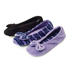 isotoner Ladies Velour Big Bow Ballerina Slippers