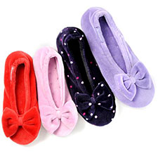 isotoner Childrens Velour Big Bow Ballerina Slippers