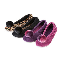 Isotoner Ladies Velour Ballerina Slippers with Pom Pom Slippers