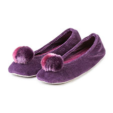 Isotoner Ladies Pom Pom Ballerina Slippers