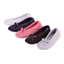 isotoner Ladies Terry Ballerina Slippers