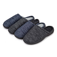 Isotoner Mens Denim Seam Mule Slippers
