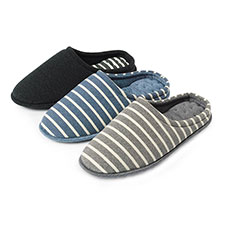 Isotoner Mens Stripe Mule Slippers
