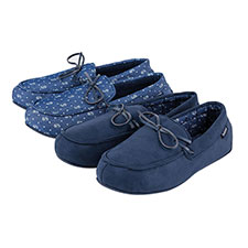 Isotoner Mens Paisley Lined Denim Moccasin Slippers