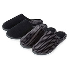 Isotoner Mens Velour Stripe Pillowstep Mule Slippers