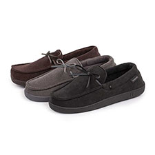 Isotoner Mens Pillowstep Cord Moccasin Slippers