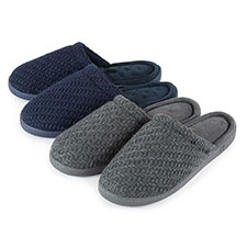 Isotoner Mens Textured Knit Mule Slippers