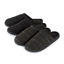 Isotoner Mens Woven Check Pillowstep Mule Slippers