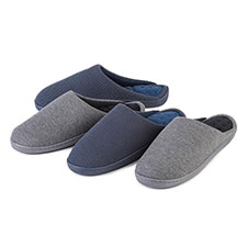 Isotoner Mens Textured Pillowstep Mule Slippers