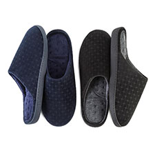 Isotoner Mens Velour Patterned Pillowstep Mule Slippers