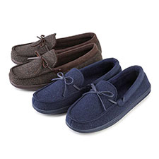 Isotoner Mens Wool Fabric Moccasin Slippers