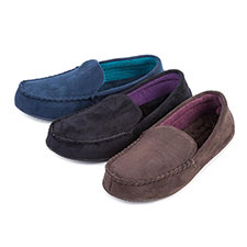 Isotoner Mens Suedette Moccasin Slippers with Driving Sole