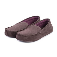 Isotoner Mens Suedette Moccasin with Driving Sole Slipper