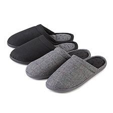 Isotoner Mens Pillowstep Woven Check Mule Slippers