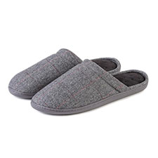 Isotoner Mens Pillowstep Woven Check Mule Slipper