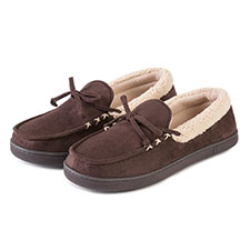 Isotoner Mens Suedette Moccasin Slippers with Sherpa Cuff