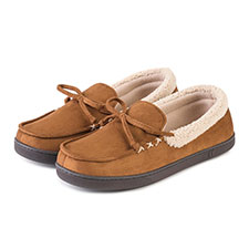 Isotoner Mens Suedette Moccasin with Sherpa Cuff