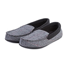 Isotoner Mens Herringbone Felt Moccasin Slippers