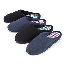 Isotoner Mens Mule Slippers with Check