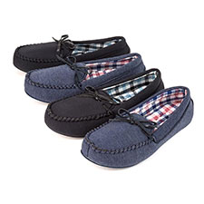 Isotoner Mens Moccasin Slippers with Check