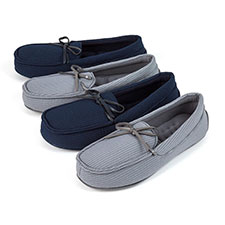 Isotoner Mens Woven Stripe Moccasin Slippers