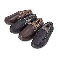 Isotoner Mens Distressed Moccasin Slippers