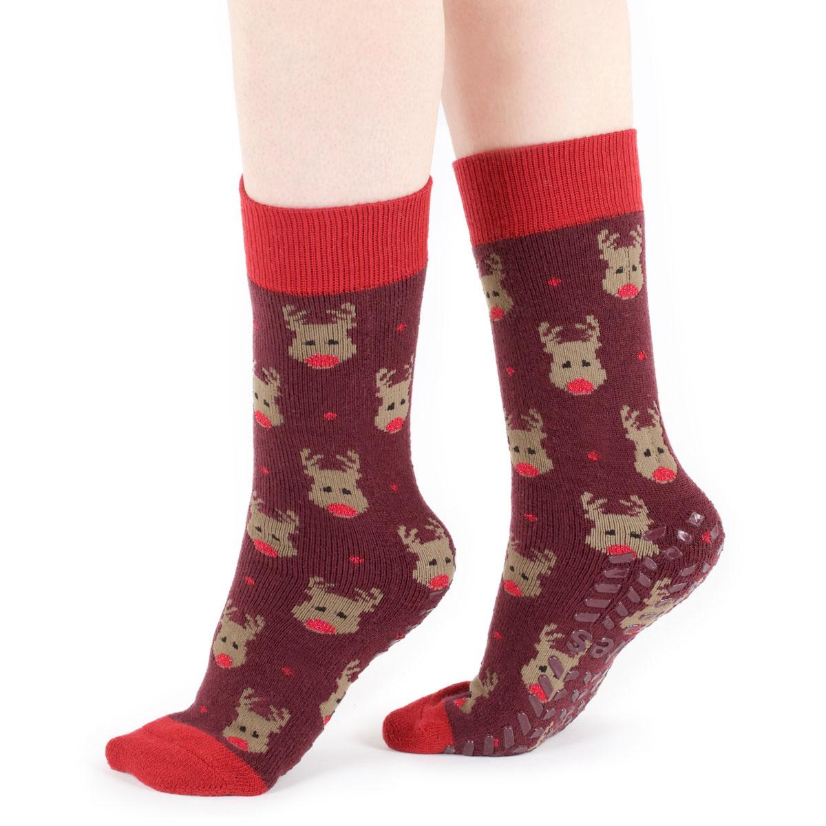 Totes Ladies Original SLIPPER Socks Rudolph One Size | EBay